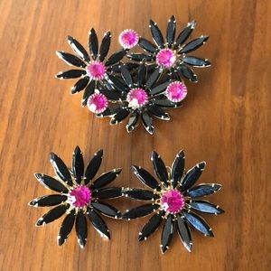 Judy Lee brooch and clip on earrings